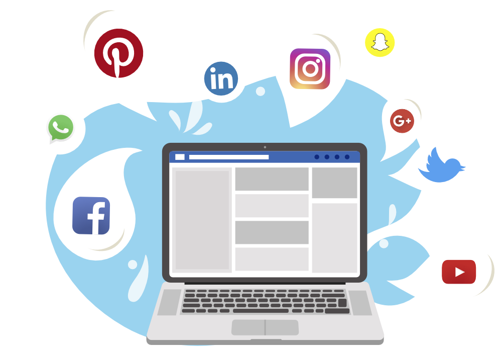 illustration showing laptop with social media icons